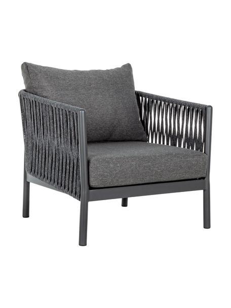 Loungefauteuil Florencia met zitkussen, Frame: gepoedercoat aluminium, Bekleding: Olefin (100% polypropylee, Antraciet, 80 x 85 cm