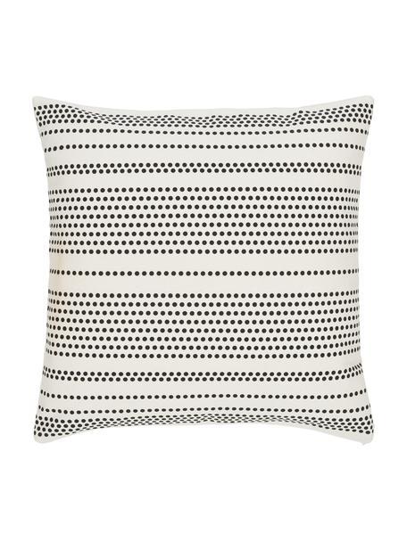 Federa arredo punteggiata color nero/bianco crema Davy, 100% cotone, Bianco, nero, Larg. 45 x Lung. 45 cm