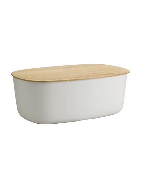 Designer Brotkasten Box-It in Hellgrau mit Schneidebrett als Deckel, Deckel: Bambus, Hellgrau, 35 x 13 cm