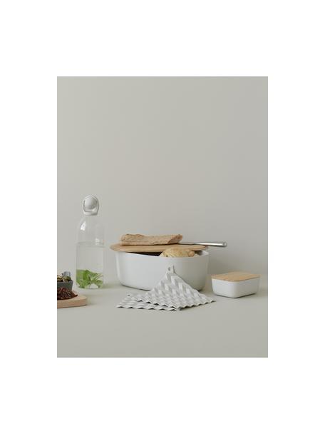 Design broodtrommel Box-It in lichtgrijs met bamboe deksel, Deksel: bamboe, Lichtgrijs, 35 x 13 cm