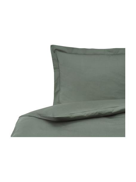 Pościel z satyny bawełnianej z lamówką Premium, Ciemny zielony, 135 x 200 cm + 1 poduszka 80 x 80 cm