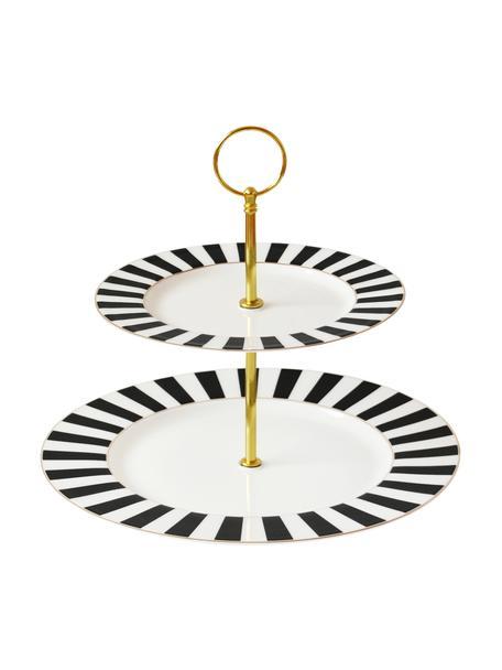 Etagere Stripy mit goldenem Gestell, Ø 27 cm, Stange: Metall, beschichtet, Schwarz, Weiß, Ø 27 x H 26 cm