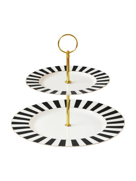 Fuente 2 pisos Stripy, Bandejas: porcelana Bone China, Negro, blanco, Ø 27 x Al 26 cm