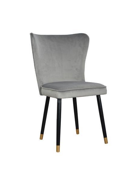 Sedia imbottita in velluto grigio Monti, Rivestimento: velluto (100% poliestere), Gambe: legno impiallacciato, Velluto grigio, Larg. 55 x Prof. 66 cm