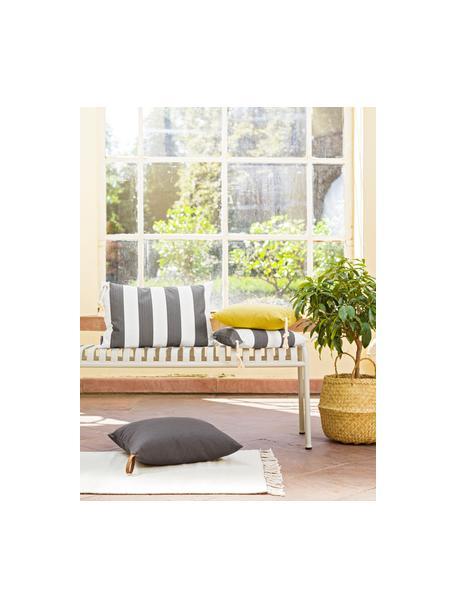 Gestreepte outdoor kussenhoes Santorin in grijs/wit, 100% polypropyleen, Antraciet, gebroken wit, 40 x 60 cm