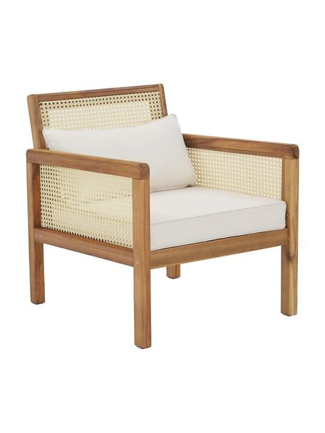 Tuin loungefauteuil Vie met Weens vlechtwerk, Bekleding: 100% polyester, Frame: massief geolied acaciahou, Beige, 68 x 78 cm