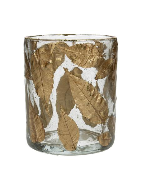 Świecznik na podgrzewacze Golden Leaf, Szkło, liście, Transparentny, odcienie złotego, Ø 8 x W 9 cm