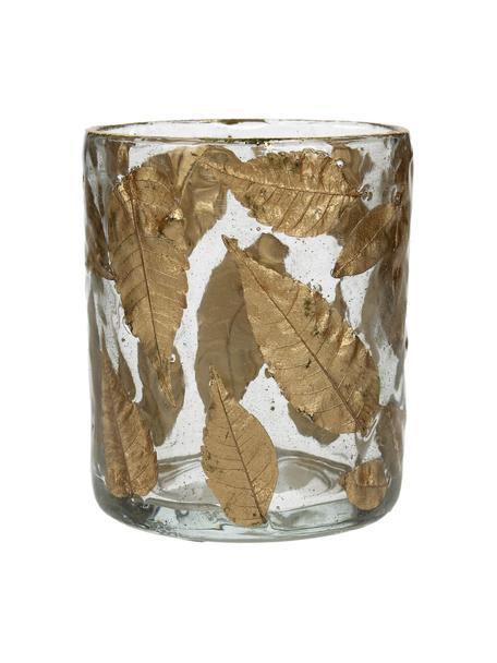 Waxinelichthouder Golden Leaf, Glas, bladeren, Transparant, goudkleurig, Ø 8 x H 9 cm