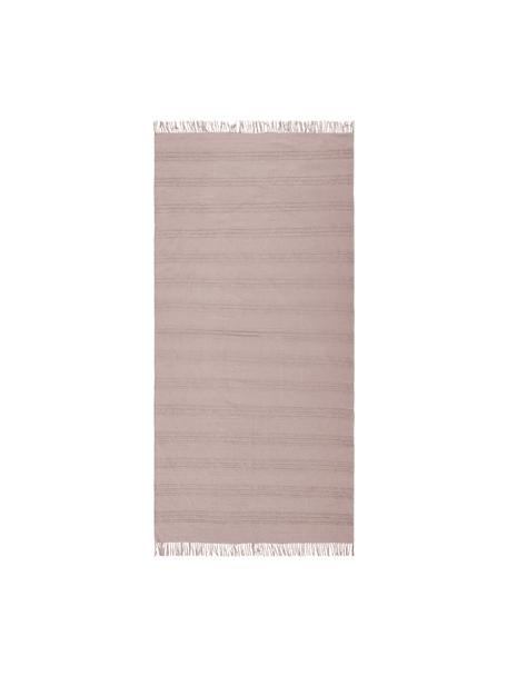 Alfombra de algodón con flecos Tanya, 100%algodón, Rosa, An 70 x L 150 cm (Tamaño XS)