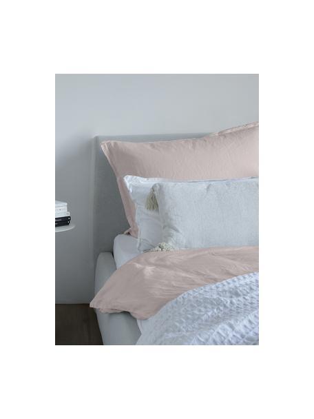 Gewaschene Leinen-Kopfkissenbezüge Nature in Altrosa, 2 Stück, Halbleinen (52% Leinen, 48% Baumwolle)  Fadendichte 108 TC, Standard Qualität  Halbleinen hat von Natur aus einen kernigen Griff und einen natürlichen Knitterlook, der durch den Stonewash-Effekt verstärkt wird. Es absorbiert bis zu 35% Luftfeuchtigkeit, trocknet sehr schnell und wirkt in Sommernächten angenehm kühlend. Die hohe Reißfestigkeit macht Halbleinen scheuerfest und strapazierfähig., Altrosa, 40 x 80 cm
