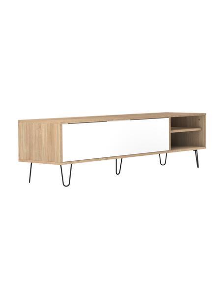 TV-Lowboard Aero mit Klapptür, Korpus: Spanplatte, melaminbeschi, Eichenholz, Weiss, 165 x 44 cm