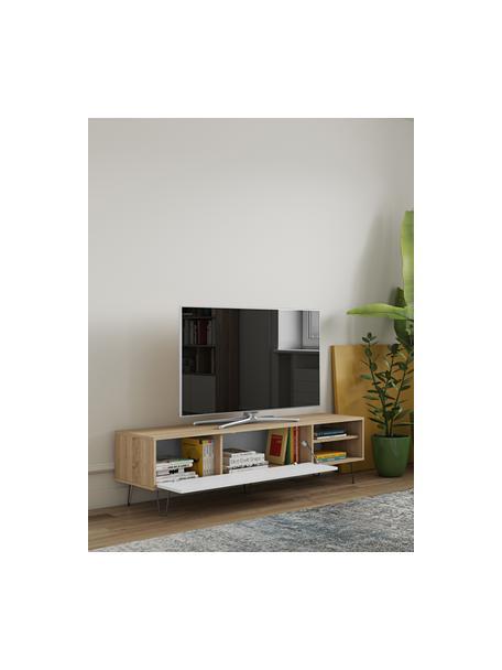 Mobile TV con anta a ribalta Aero, Piedini: metallo verniciato, Legno di quercia, bianco, Larg. 165 x Alt. 44 cm