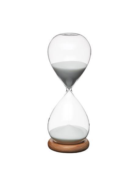Sanduhr Natural aus Glas mit Akazienholzsockel, Sockel: Akazienholz, Transparent, Weiß, Akazienholz, Ø 8 x H 22 cm