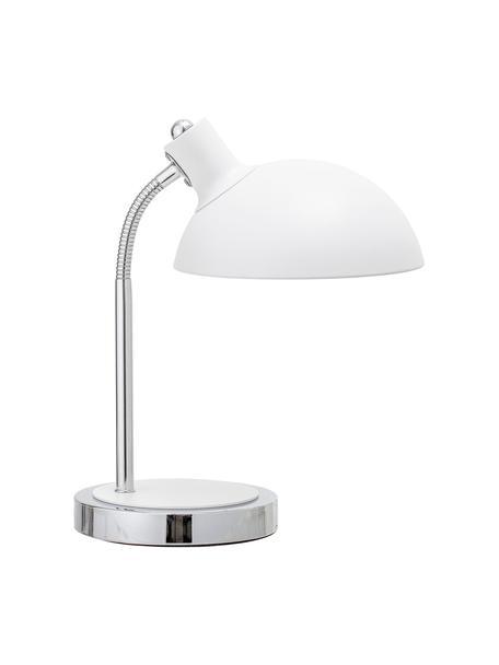 Lámpara de escritorio Charlotte, Pantalla: metal pintado, Estructura: metal, Cable: cubierto en tela, Blanco, Ø 23 x Al 40 cm