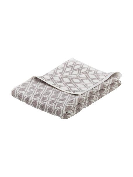 Asciugamano reversibile con motivo grafico Ava, 100% cotone, qualità media 550g/m², Grigio, bianco crema, Asciugamano per ospiti
