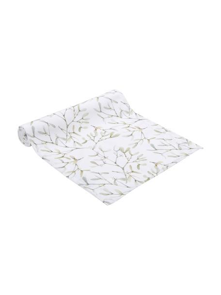 Camino de mesa Fairytale, 100%poliéster, Blanco crudo, tonos verdes, An 40 x L 145 cm