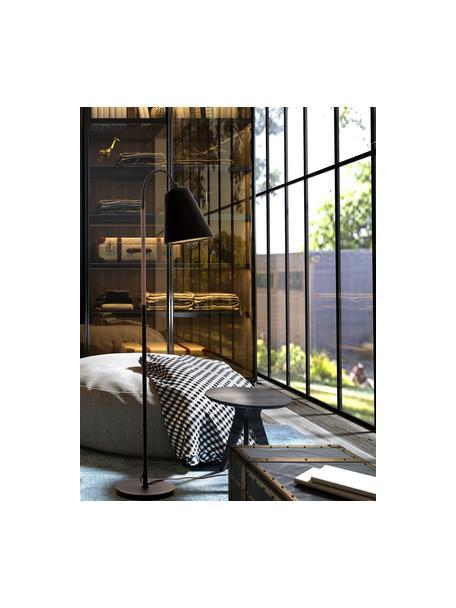 Leeslamp Ljusdal met houten decoratie, Lampenkap: stof, Lampvoet: gecoat metaal, Decoratie: walnoothout, Zwart, 52 x 140 cm
