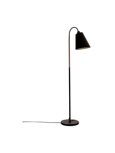 Kleine Leselampe Ljusdal mit Holz-Dekor, Lampenschirm: Stoff, Lampenfuß: Metall, beschichtet, Dekor: Walnussholz, Schwarz, 52 x 140 cm