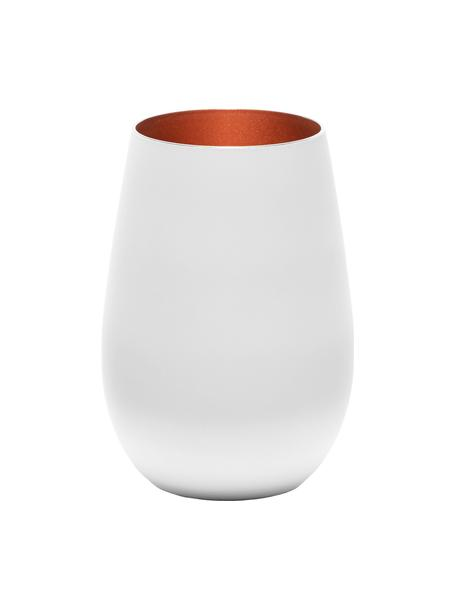 Vasos highball de cristal Elements, 6uds., Cristal recubierto, Blanco, bronce, Ø 9 x Al 12 cm