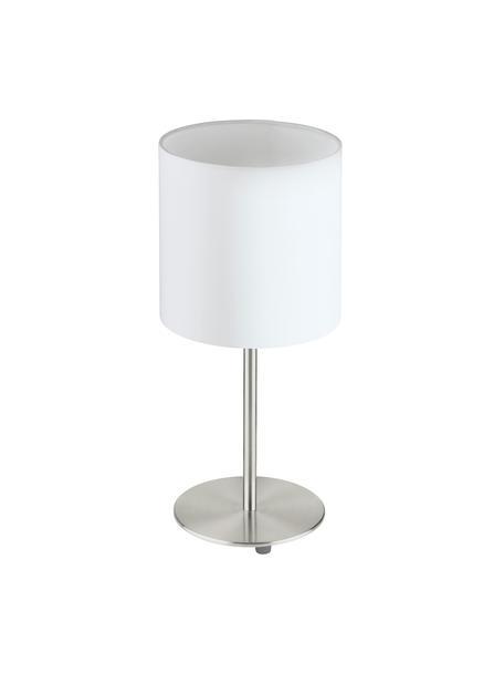 Klassische Nachttischlampe Mick, Lampenschirm: Textil, Lampenfuß: Metall, vernickelt, Weiß,Silberfarben, Ø 18 x H 40 cm