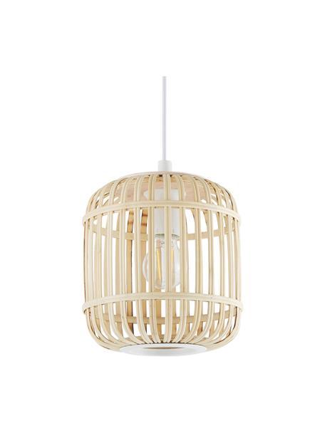 Kleine hanglamp Adam van bamboehout, Baldakijn: gepoedercoat metaal, Lampenkap: bamboe, multiplex, Wit, beige, Ø 21  x H 24 cm