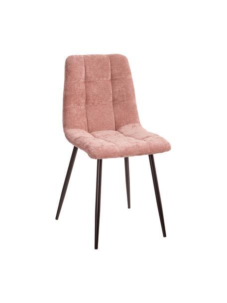 Sedia imbottita in velluto Hope, Rivestimento: 100% velluto di poliester, Gambe: metallo, Rosa, nero, Larg. 42 x Prof. 44 cm