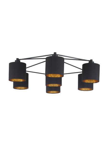 Grote plafondlamp Staiti in zwart-goudkleur, Baldakijn: gelakt staal, Zwart, Ø 84 x H 24 cm