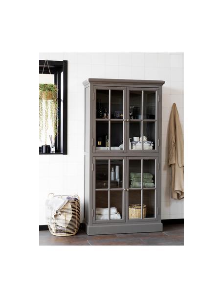 Vitrinekast Lorient in grijs met deuren, Gelakt grenenhout, MDF, Grijs, 95 x 185 cm
