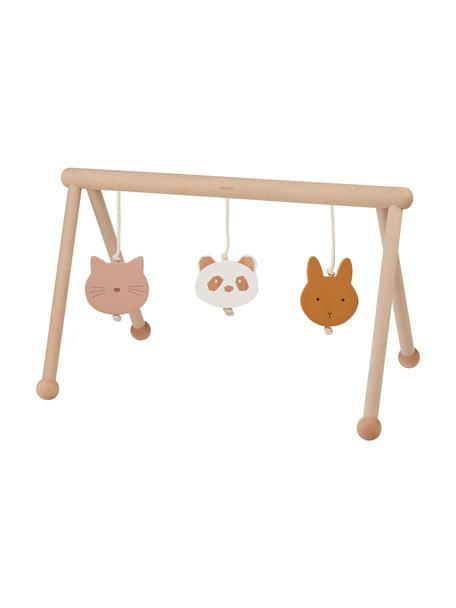 Arco de juegos de madera Ernie Multi Mix, 100%madera de haya, hilo de algodón, Beige, rosa, blanco, naranja, An 72 x F 40 cm