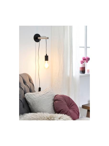 Wandlamp Jarbo met stekker, Fitting en wandbevestiging: zwart. Bevestiging: hout, 11 x 26 cm