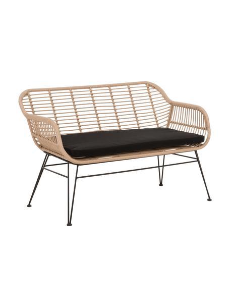 Polyrattan-Sitzbank Costa, Sitzfläche: Polyethylen-Geflecht, Gestell: Metall, pulverbeschichtet, Hellbraun, Schwarz, B 126 x T 68 cm