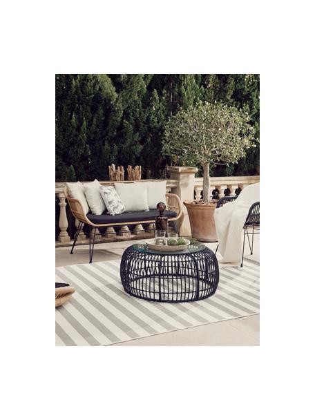 Panca da giardino intrecciata Costa, Seduta: intreccio in polietilene, Struttura: metallo verniciato a polv, Marrone chiaro, Larg. 126 x Alt. 81 cm