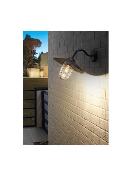 Outdoor wandlamp Melgoa, Lampenkap: glas, Zwart, 30 x 25 cm