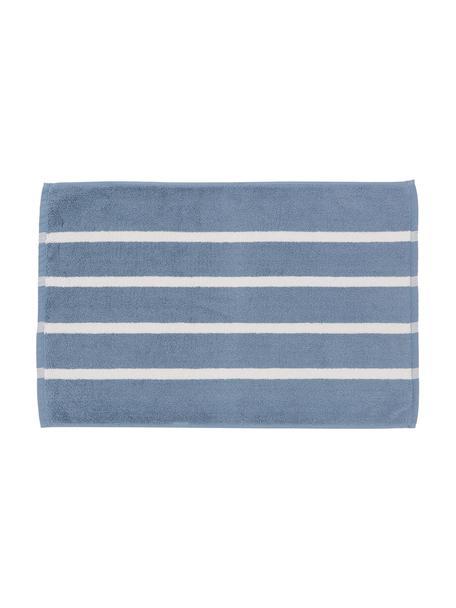 Gestreepte badmat Menton, 100% katoen, Blauw, wit, 50 x 75 cm