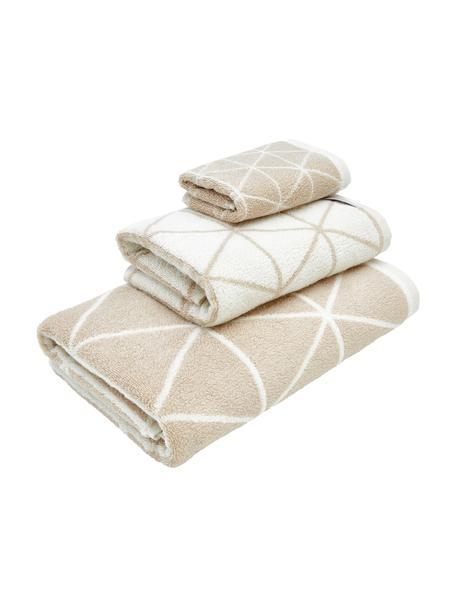 Dubbelzijdige handdoekenset Elina, 3-delig, 100% katoen, middelzware kwaliteit, 550 g/m², Zandkleurig, crèmewit, Set met verschillende formaten