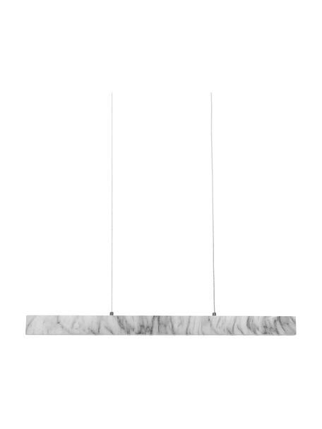 Grote smalle LED hanglamp Pierce met marmerlook, Lampenkap: gefolieerd metaal, Baldakijn: gefolieerd metaal, Gemarmerd wit, 90 x 10 cm