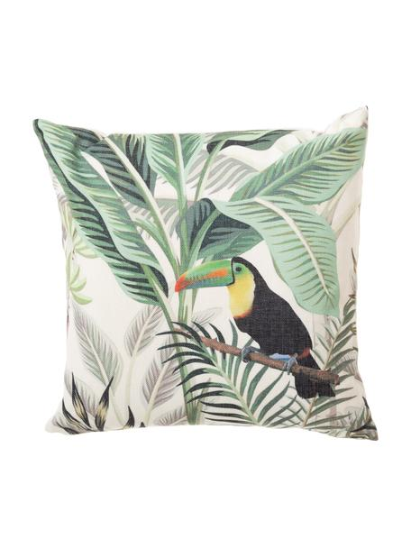 Cuscino imbottito da esterno con motivo tropicale Toucan, Rivestimento: 83% poliestere, 13% coton, Verde, multicolore, Larg. 45 x Lung. 45 cm