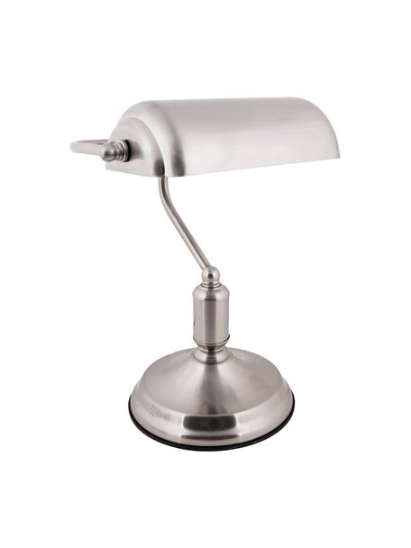 Lampa biurkowa retro z metalu Bank, Odcienie srebrnego, S 27 x W 34 cm