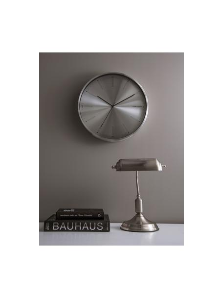 Kleine retro bureaulamp bank van metaal, Lampenkap: metaal, Lampvoet: metaal, Zilverkleurig, 27 x 34 cm