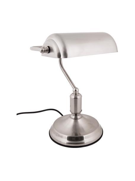 Lampa biurkowa z metalu w stylu retro Bank, Odcienie srebrnego, S 27 x W 34 cm