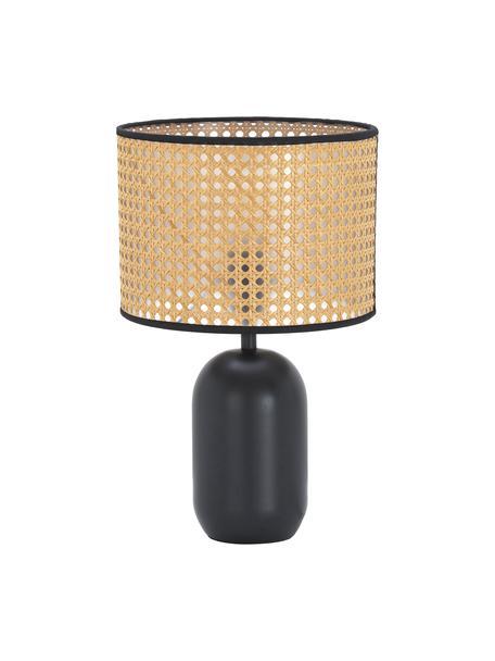 Lámpara de mesa con tejido vienés Vienna, Pantalla: plástico, Cable: tela, Beige, negro, Ø 25 x Al 39 cm