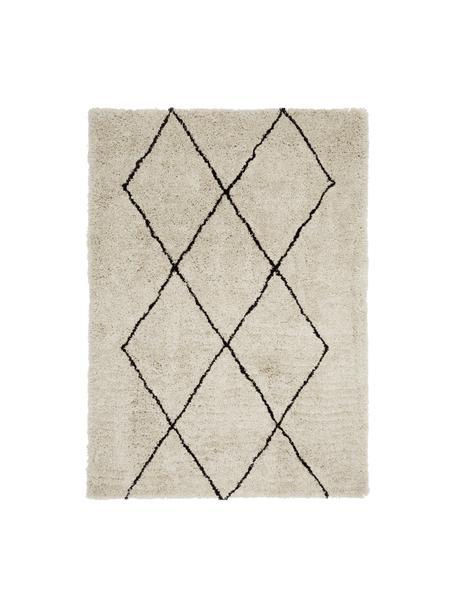 Alfombra artesanal Nouria, Parte superior: 100%poliéster, Reverso: 100%algodón, Beige, negro, An 80 x L 150 cm (Tamaño XS)