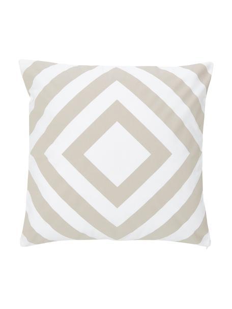 Kissenhülle Caro in Beige/Weiß mit grafischem Muster, 100% Baumwolle, Weiß,Beige, 45 x 45 cm