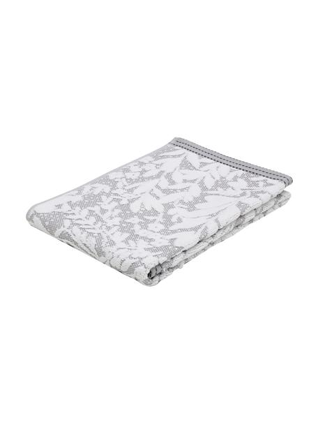 Handdoek Matiss in verschillende formaten, met hoog-laag patroon met bloemen, Wit, zilvergrijs, Handdoek
