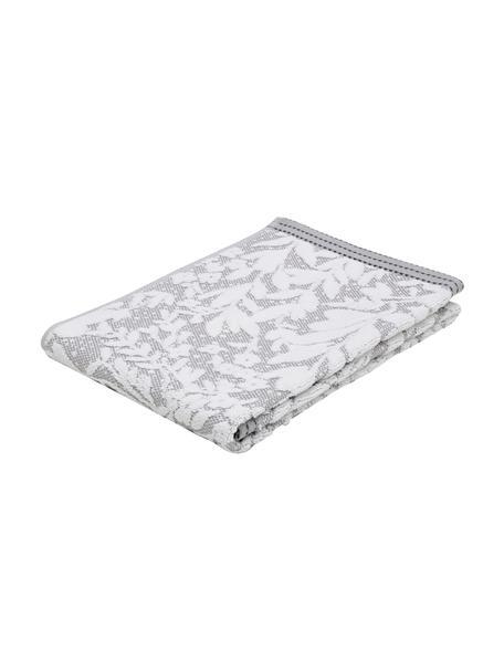 Handtuch Matiss in verschiedenen Größen, mit floralem Hoch-Tief-Muster, Weiß, Silbergrau, Handtuch