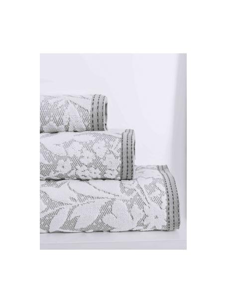 Handtuch Matiss in verschiedenen Grössen, mit floralem Hoch-Tief-Muster, Weiss, Silbergrau, Handtuch