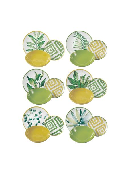 Serviesset Botanique in tropisch design, 6 personen (18-delig), Porselein, gres, Groen, wit, geel, Verschillende formaten