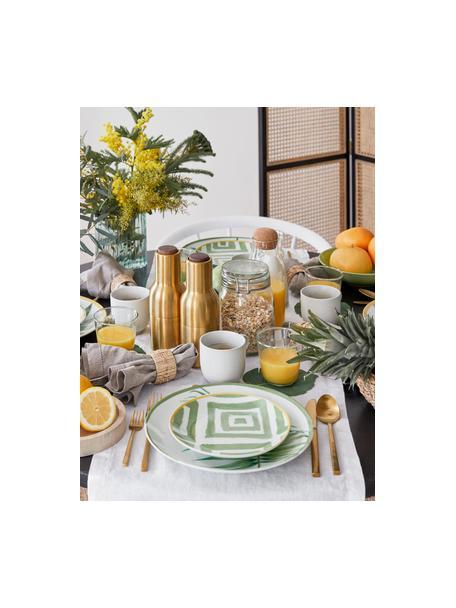 Serviesset Botanique in tropisch design, 6 personen (18-delig), Porselein, gres, Groen, wit, geel, Set met verschillende formaten