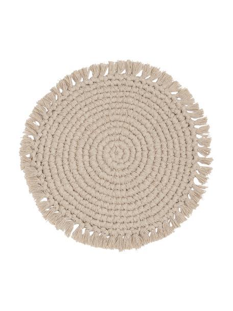 Okrągła podkładka z bawełny z frędzlami Vera, 100% bawełna, Odcienie kremowego, Ø 38 cm