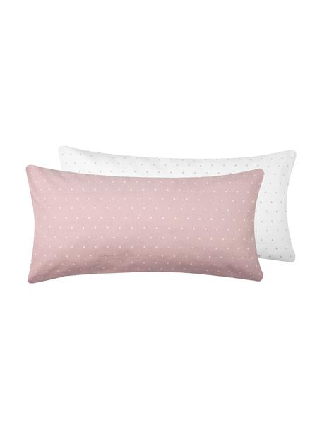 Dwustronna poszewka na poduszkę z flaneli Elisa, 2 szt., Brudny różowy, biały, S 40 x D 80 cm